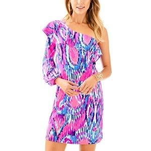 Lilly Pulitzer Silk Amante Dress One Shoulder NEW